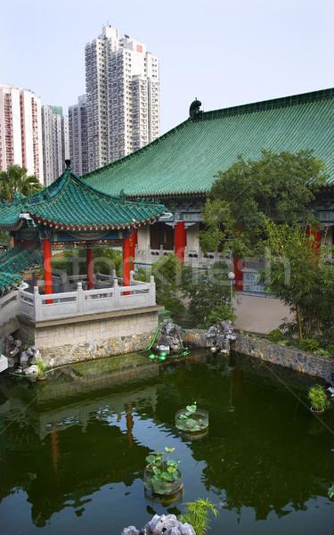 Red Pavilion Good Fortune Water Garden Wong Tai Sin Taoist Templ Stock photo © billperry