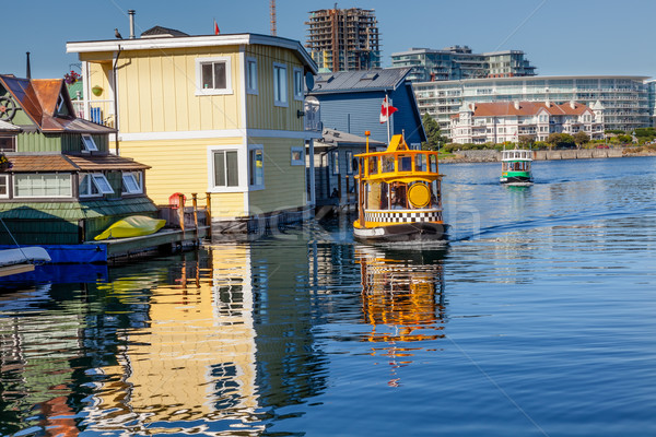 Floating Home Village Water Taxis Blue Houseboats Fisherman's Wh Stock photo © billperry