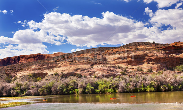 Stock photo: Orange Boats Colorado River Rock Canyon Reflection Green Grass O