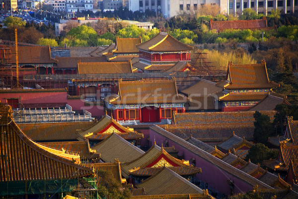Red Pavilion in Forbidden City Beijing China Stock photo © billperry
