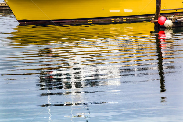 Yellow Sailboat Reflection Westport Grays Harbor Washington Stat Stock photo © billperry
