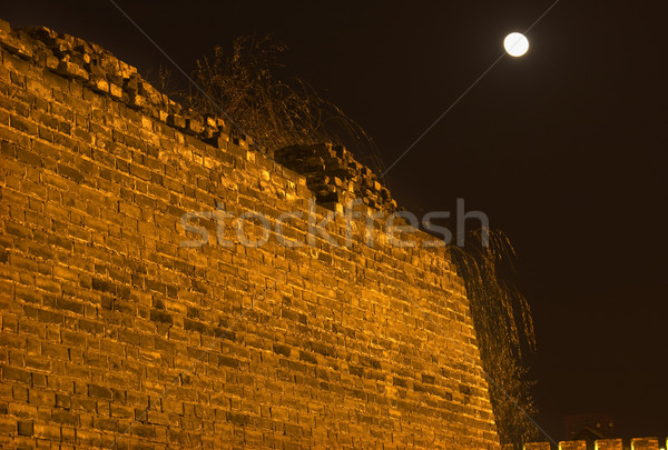 Ancient City Wall Park at Night with Moon Beijing China Stock photo © billperry