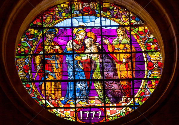 Visatation Mary Elizabeth Meeting Stained Glass Cathedral of Sai Stock photo © billperry