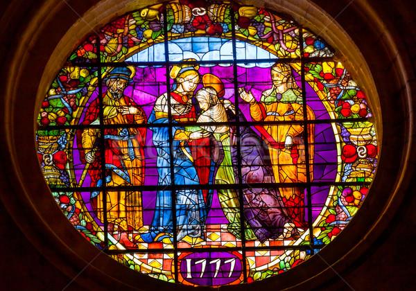 Reunião vitrais catedral ver Espanha Foto stock © billperry