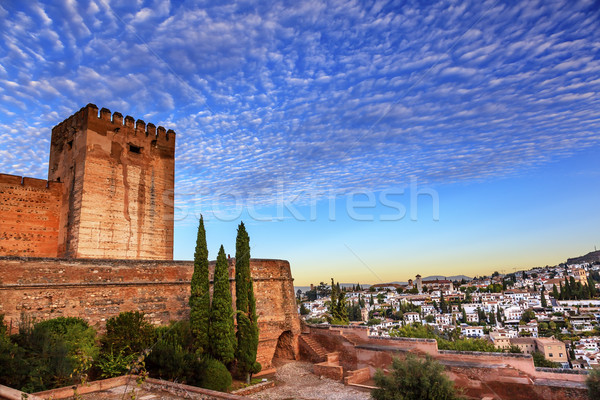 Alhambra Morning Sky Granada Cityscape Churches Andalusia Spain Stock photo © billperry