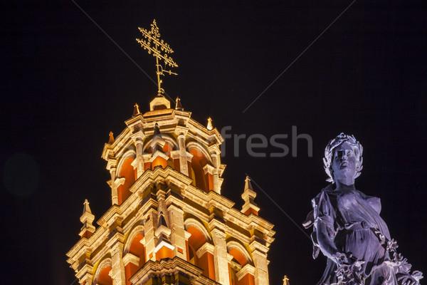 Stock fotó: Béke · szobor · hölgy · bazilika · éjszaka · Mexikó