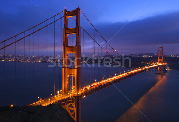 Golden Gate Bridge pôr do sol rosa noite luzes San Francisco Foto stock © billperry