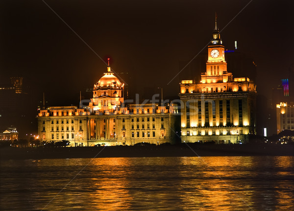Shanghai Bund at Night Close Up Stock photo © billperry