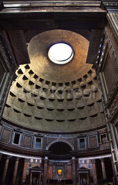 Pantheon Through Doors Altar Cupola Ceiling Oculus Rome Italy Stock photo © billperry