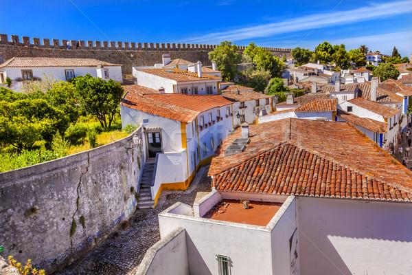 Castelo paredes laranja telhados estreito rua Foto stock © billperry