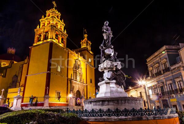 Vrede standbeeld dame basiliek nacht Mexico Stockfoto © billperry