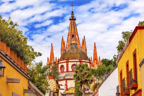 Utca templom kupola Mexikó épület építészet Stock fotó © billperry