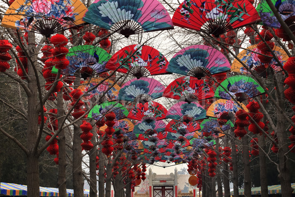 Paper Fans Lucky Red Lanterns Chinese Lunar New Year Decorations Stock photo © billperry