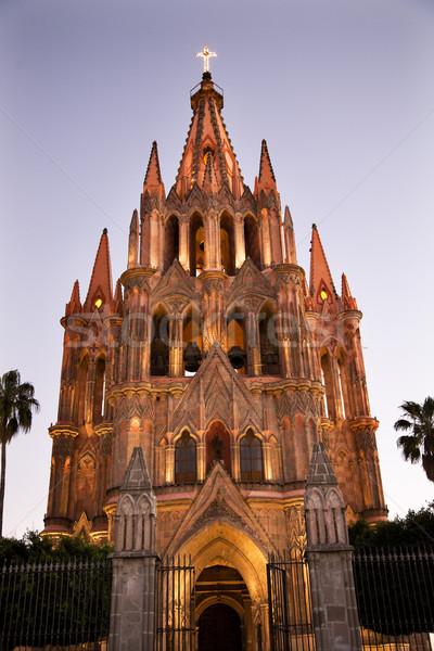Evening Church Lights Parroquia Archangel Church San Miguel Mexi Stock photo © billperry