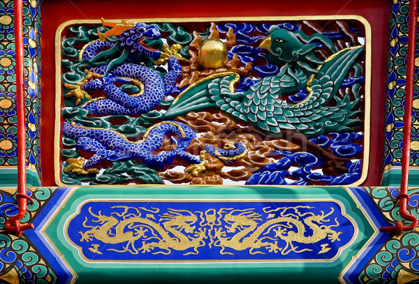 Dragon Phoenix Details Gate Yonghegong Beijing China Stock photo © billperry