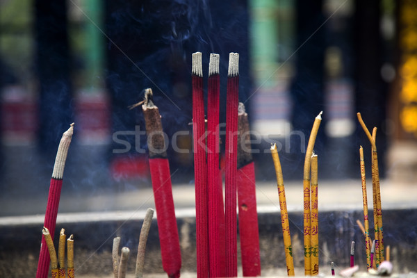 Smoking Incense Sticks Baoguang Si Shining Treasure Buddhist Tem Stock photo © billperry