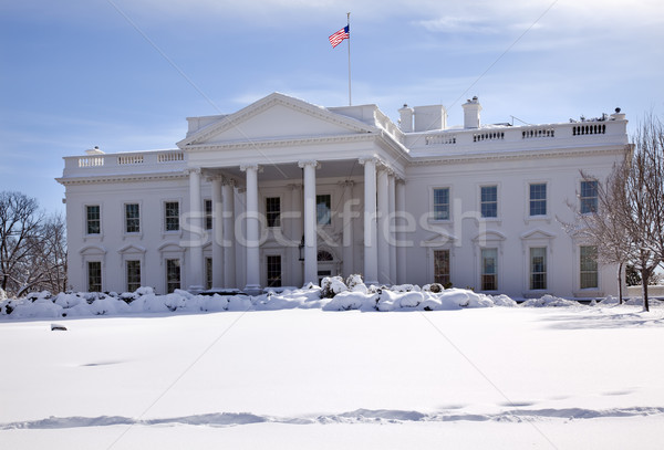 Casa blanca bandera nieve Pensilvania Washington DC Foto stock © billperry