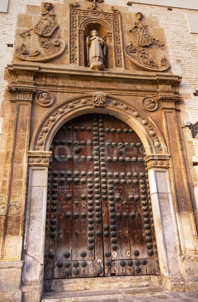 Old Wooden Door Walking Street Carrera Del Darro Covento de Sant Stock photo © billperry