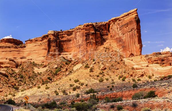башни горная порода каньон парка красный оранжевый Сток-фото © billperry