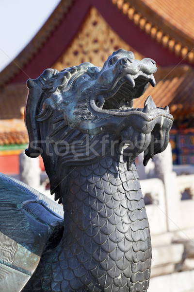 Dragon Tortise Bronze Statue Gugong Forbidden City Palace Beijin Stock photo © billperry