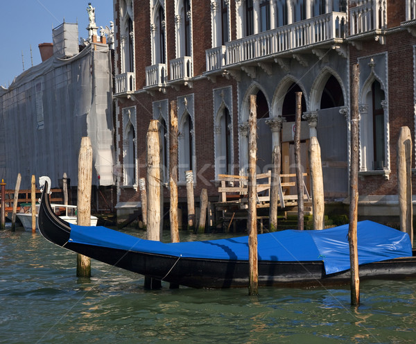 Grand Canal Gondola Reflections Mooring Poles Venice Italy Stock photo © billperry