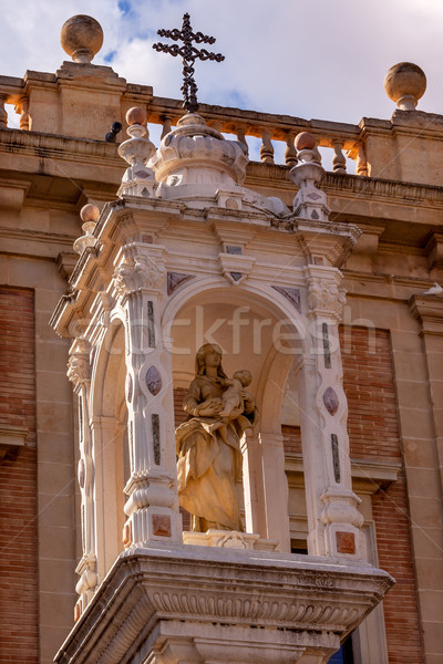 Mary Jesus Statue Cross Outside Seville Cathedral Andalusia Spai Stock photo © billperry