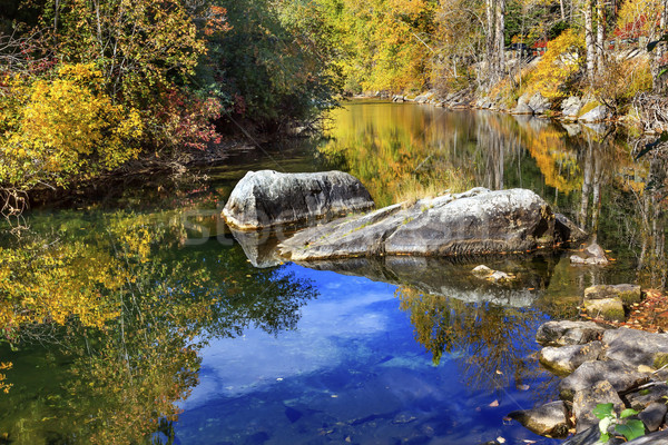 Fall Colors Orange Blue Reflection Wenatchee River Valley Near S Stock photo © billperry