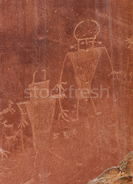 Native American Indian Fremont Petroglyphs Sandstone Mountain Ca Stock photo © billperry