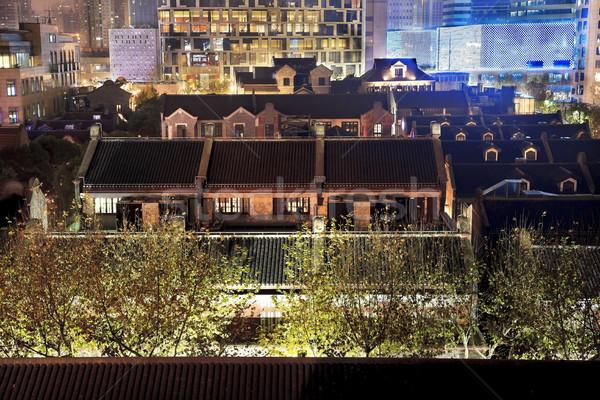 старые китайский домах высокий Шанхай Китай Сток-фото © billperry