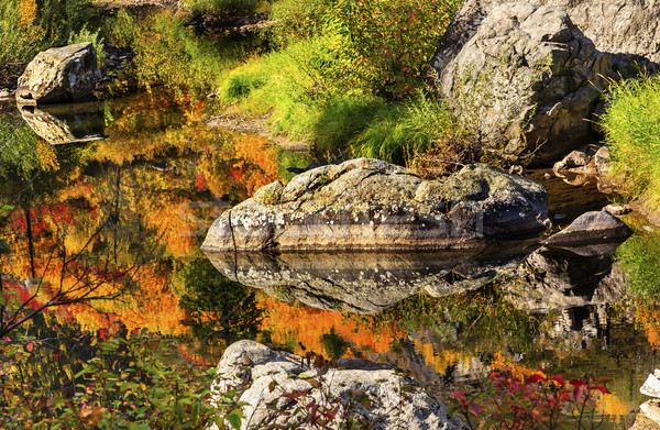Fall Colors Orange Fire Reflection Wenatchee River Valley Near S Stock photo © billperry