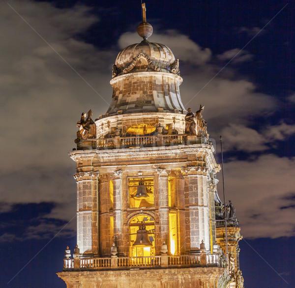 Katedrális Mexikóváros központ éjszaka épület autók Stock fotó © billperry