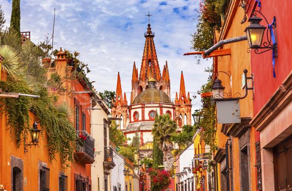 Straat kerk koepel Mexico gebouw architectuur Stockfoto © billperry
