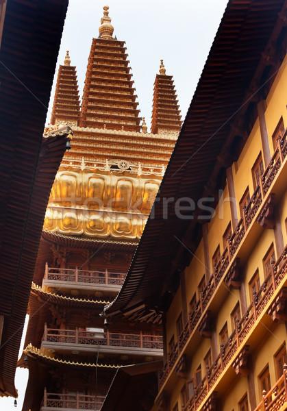 Golden Temple Wooden Buildings Roof Top Jing An Temple Shanghai  Stock photo © billperry