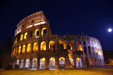 Colosseum Overview Moon Night Rome Italy Stock photo © billperry