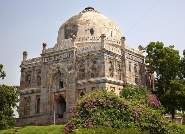 Sír kertek Új-Delhi India nagy ősi Stock fotó © billperry