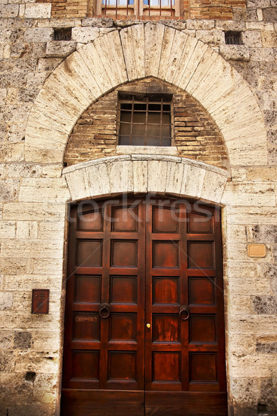 Stock photo: Ancient Brown Door Stone Doorway Medieval Town San Gimignano Tus