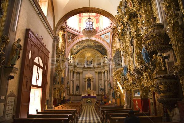 Iglesia rosa cúpula dorado altar Foto stock © billperry