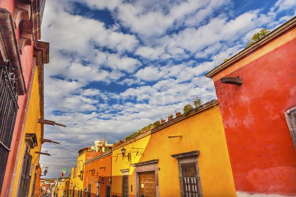 Yellow Orange Town Street San Miguel de Allende Mexico Stock photo © billperry