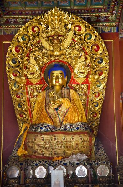 Blauw buddha handen details tempel Stockfoto © billperry