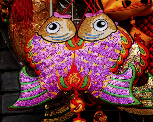 2 ラッキー 布 魚 中国 シンボル ストックフォト © billperry