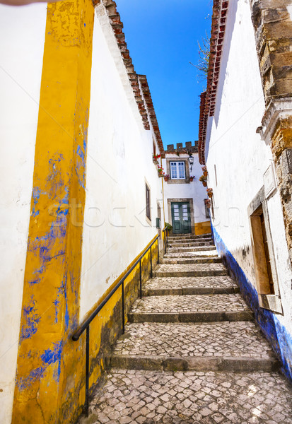 Narrow White Street 11th Century Mediieval City Obidos Portugal Stock photo © billperry