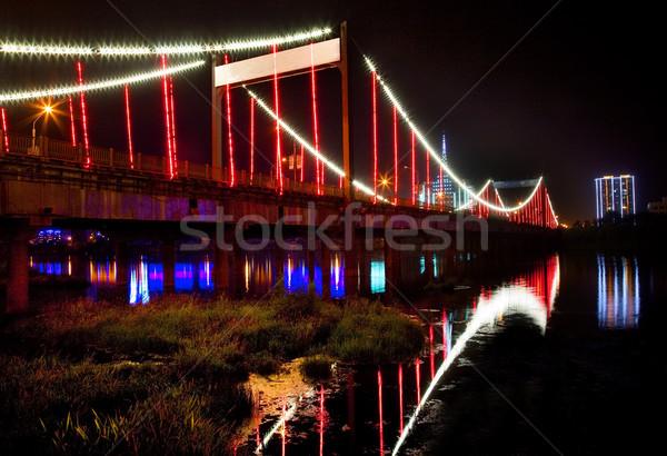 красный фары общий моста ночь город Сток-фото © billperry