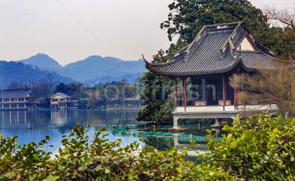 Old Chinese Pavilion West Lake Reflection Hangzhou Zhejiang Chin Stock photo © billperry