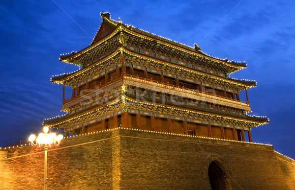 Poort mannen vierkante Beijing China nacht Stockfoto © billperry