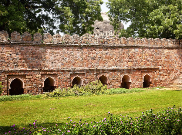 Stone Ramparts Sikandar Lodi Tomb Gardens New Delhi India Stock photo © billperry