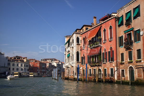 Grand Canal Boat Reflections Poles Venice Italy Stock photo © billperry