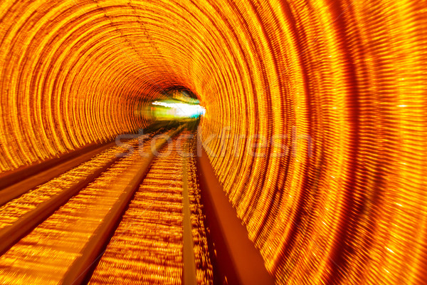 Stock photo: Golden Highway Rail Abstract Underground Railway Bund Shanghai C