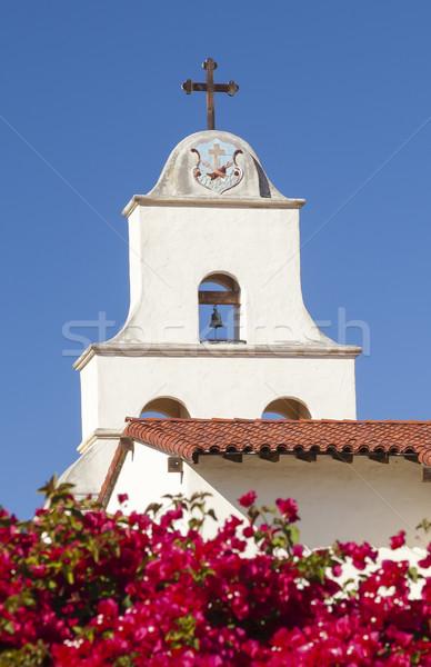Blanco misión cruz campana rojo Foto stock © billperry