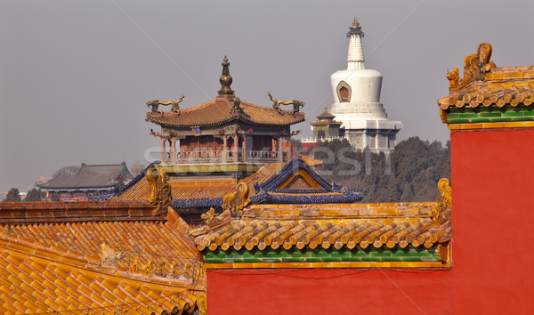 Beihai Stupa Yellow Roofs Gugong Forbidden City Palace Beijing C Stock photo © billperry