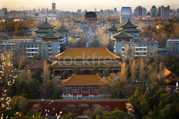 Jinshang Park Looking North at Drum Tower Beijing China Overview Stock photo © billperry